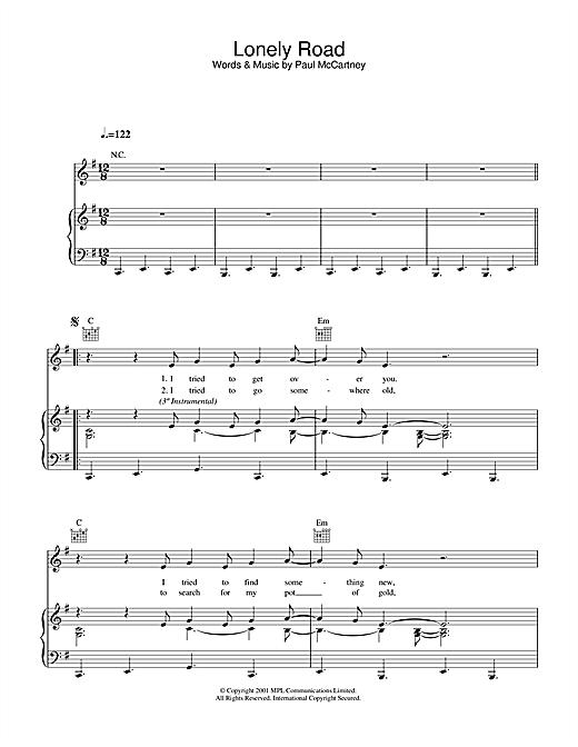 Paul McCartney Lonely Road sheet music notes printable PDF score