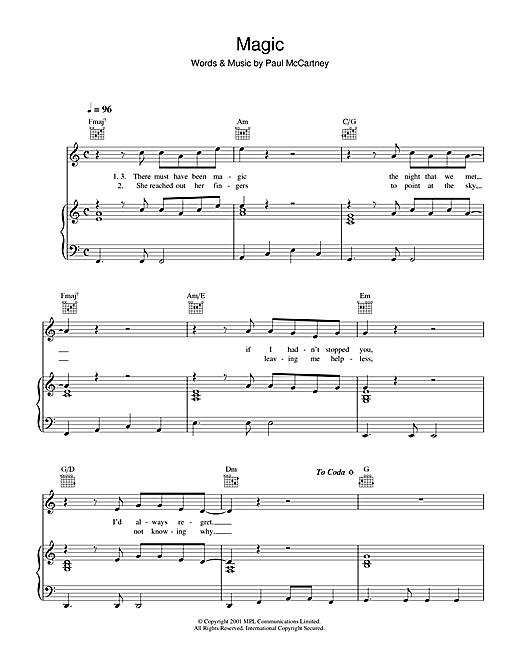 Paul McCartney Magic sheet music notes printable PDF score