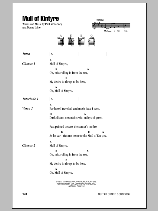 Paul McCartney Mull Of Kintyre sheet music notes and chords. Download Printable PDF.