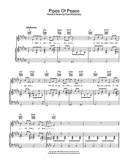 Paul McCartney Pipes Of Peace sheet music notes printable PDF score
