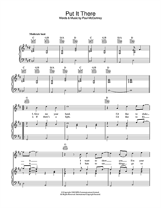 Paul McCartney Put It There sheet music notes printable PDF score