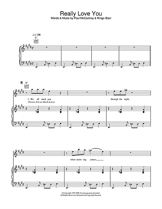 Paul McCartney Really Love You sheet music notes printable PDF score