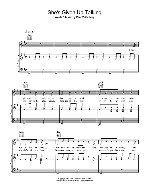 Paul McCartney She's Given Up Talking sheet music notes printable PDF score