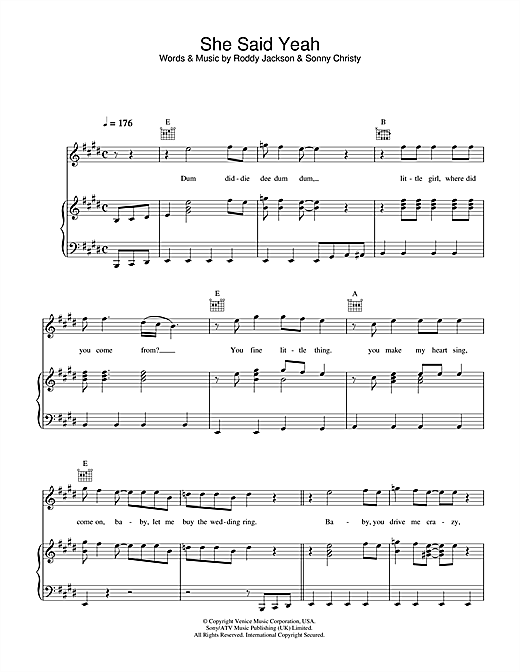 Paul McCartney She Said Yeah sheet music notes printable PDF score