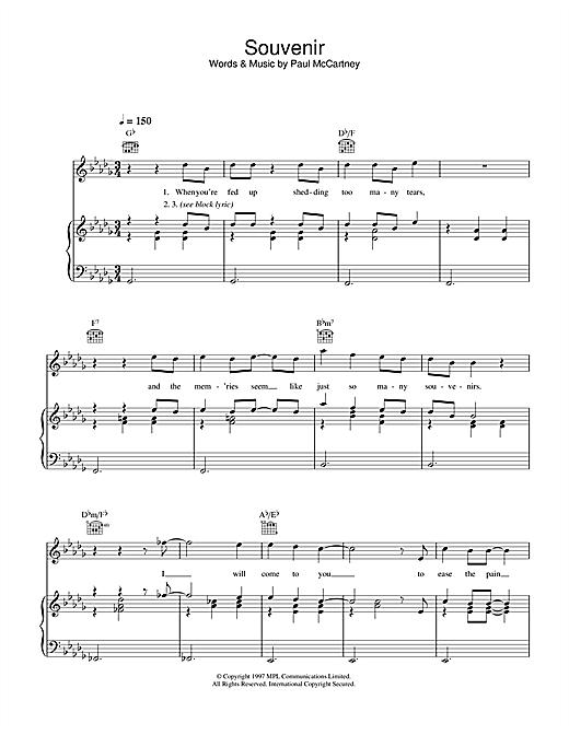 Paul McCartney Souvenir sheet music notes printable PDF score
