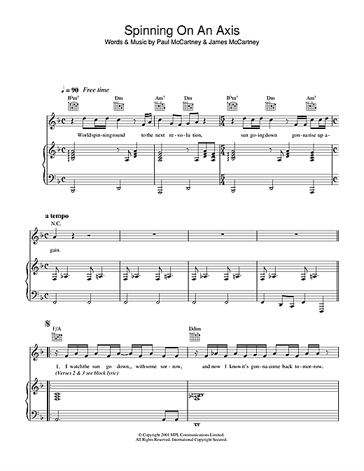 Paul McCartney Spinning On An Axis sheet music notes printable PDF score