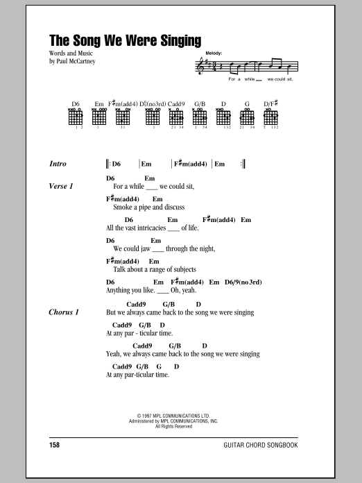 Paul McCartney The Song We Were Singing sheet music notes printable PDF score