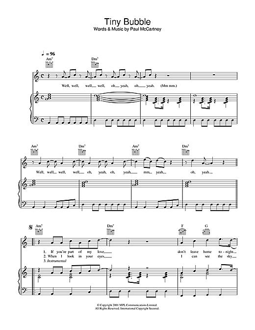 Paul McCartney Tiny Bubble sheet music notes printable PDF score