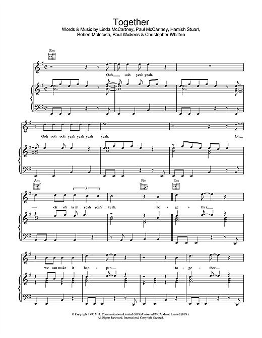Paul McCartney Together sheet music notes printable PDF score