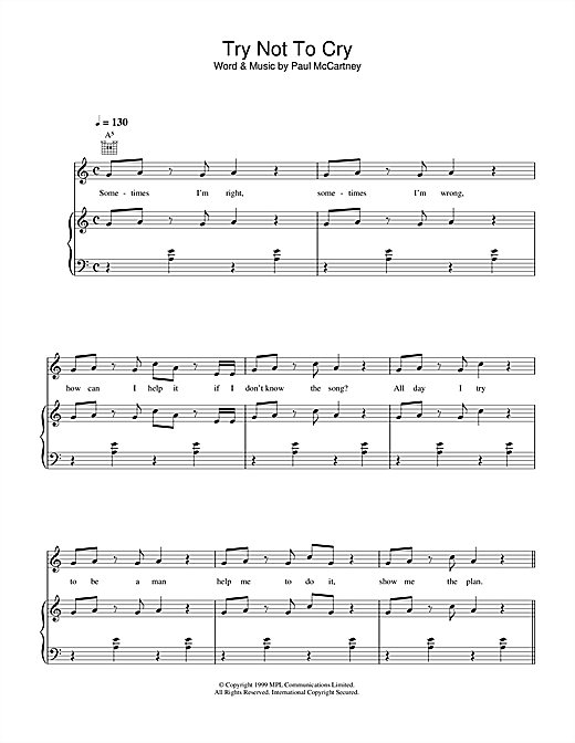 Paul McCartney Try Not To Cry sheet music notes printable PDF score