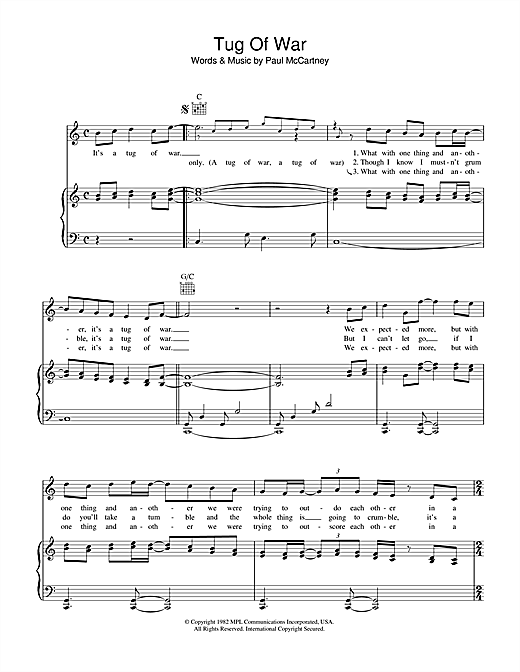 Paul McCartney Tug Of War sheet music notes printable PDF score