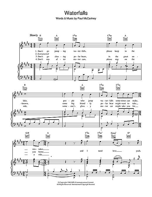 Paul McCartney Waterfalls sheet music notes printable PDF score