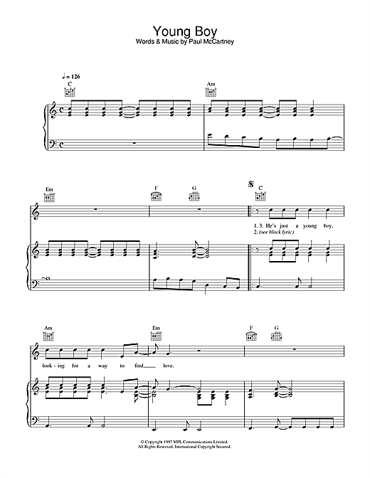 Paul McCartney Young Boy sheet music notes printable PDF score