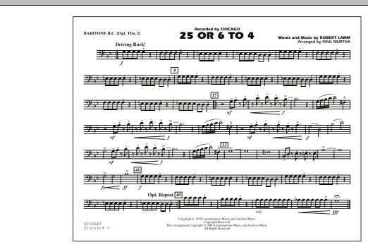 Paul Murtha 25 Or 6 To 4 - Baritone B.C. (Opt. Tbn. 2) sheet music notes and chords. Download Printable PDF.