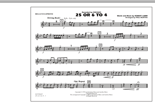 Paul Murtha 25 Or 6 To 4 - Bells/Xylophone sheet music notes and chords. Download Printable PDF.