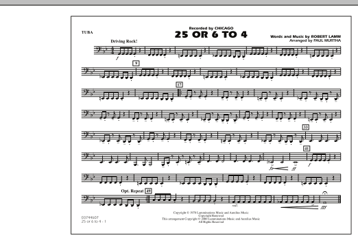 Paul Murtha 25 Or 6 To 4 - Tuba sheet music notes and chords. Download Printable PDF.