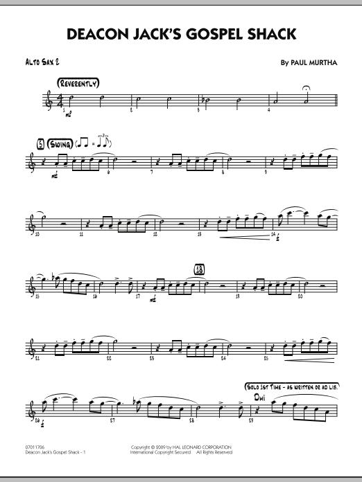 Paul Murtha Deacon Jack's Gospel Shack - Alto Sax 2 sheet music notes and chords. Download Printable PDF.