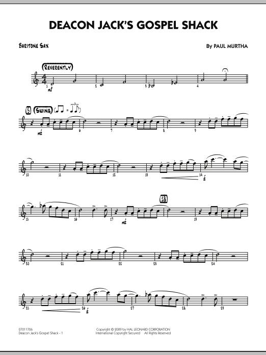 Paul Murtha Deacon Jack's Gospel Shack - Baritone Sax sheet music notes and chords. Download Printable PDF.