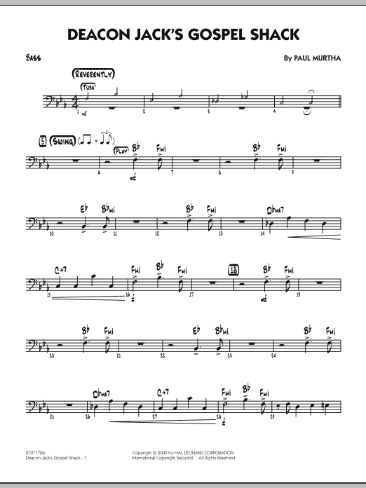 Paul Murtha Deacon Jack's Gospel Shack - Bass sheet music notes and chords. Download Printable PDF.