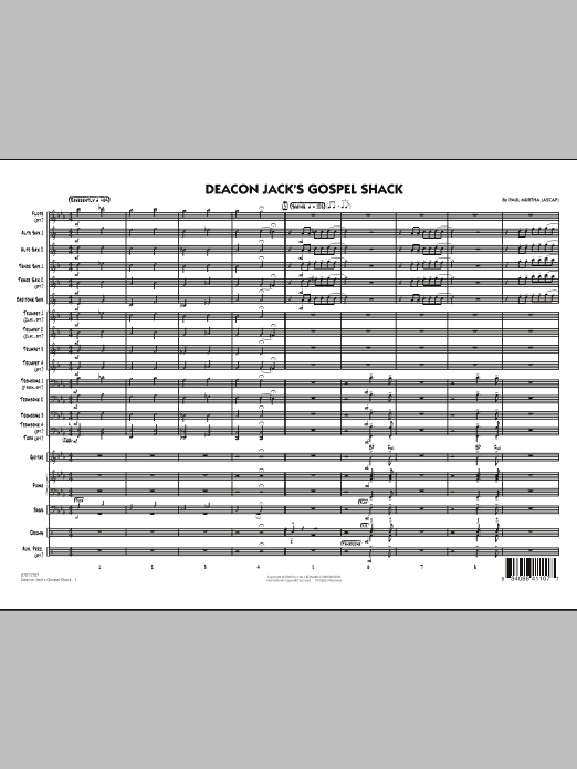 Paul Murtha Deacon Jack's Gospel Shack - Full Score sheet music notes and chords. Download Printable PDF.