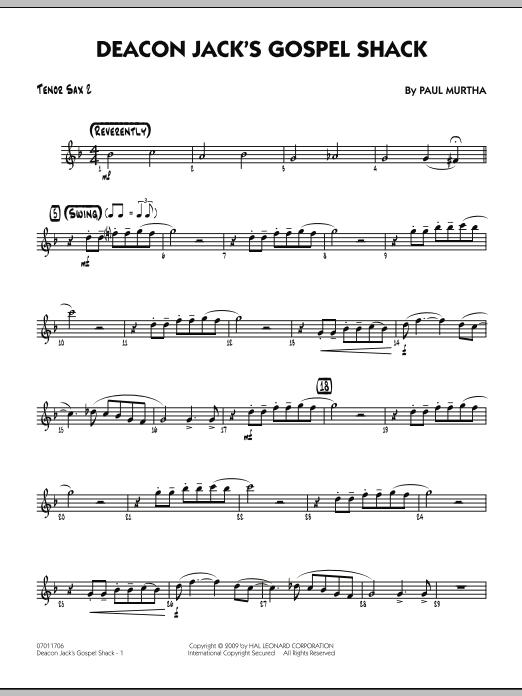 Paul Murtha Deacon Jack's Gospel Shack - Tenor Sax 2 sheet music notes and chords. Download Printable PDF.