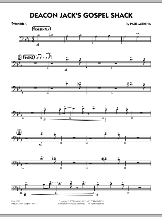 Paul Murtha Deacon Jack's Gospel Shack - Trombone 1 sheet music notes and chords. Download Printable PDF.