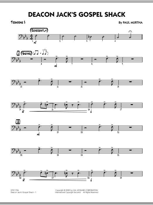 Paul Murtha Deacon Jack's Gospel Shack - Trombone 3 sheet music notes and chords. Download Printable PDF.