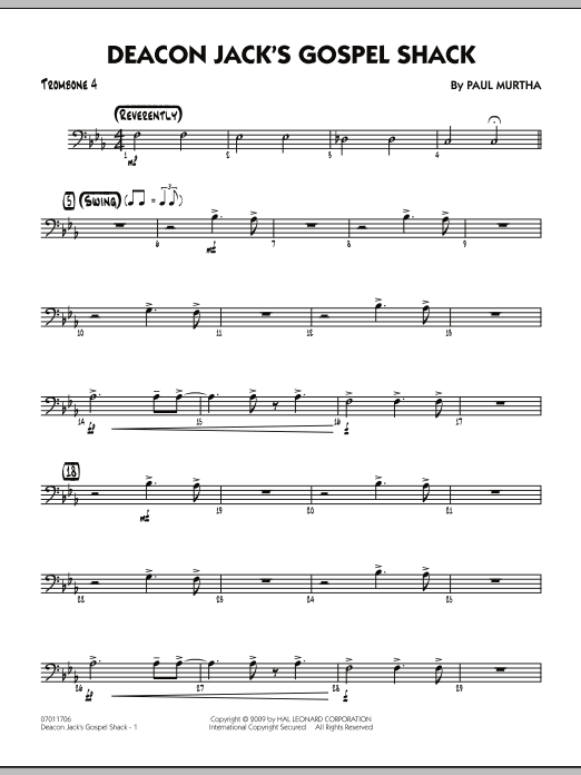 Paul Murtha Deacon Jack's Gospel Shack - Trombone 4 sheet music notes and chords. Download Printable PDF.