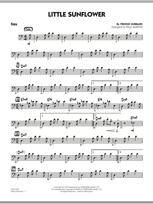 Paul Murtha Little Sunflower - Bass sheet music notes and chords. Download Printable PDF.