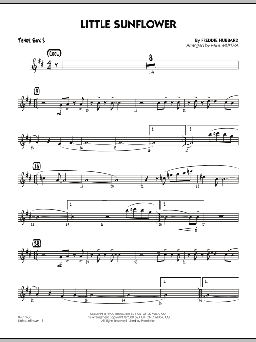Paul Murtha Little Sunflower - Tenor Sax 2 sheet music notes and chords. Download Printable PDF.