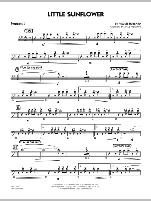 Paul Murtha Little Sunflower - Trombone 1 sheet music notes and chords. Download Printable PDF.
