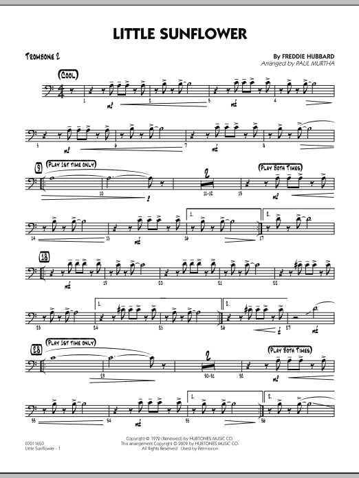 Paul Murtha Little Sunflower - Trombone 2 sheet music notes and chords. Download Printable PDF.