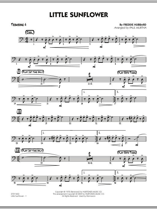 Paul Murtha Little Sunflower - Trombone 4 sheet music notes and chords. Download Printable PDF.