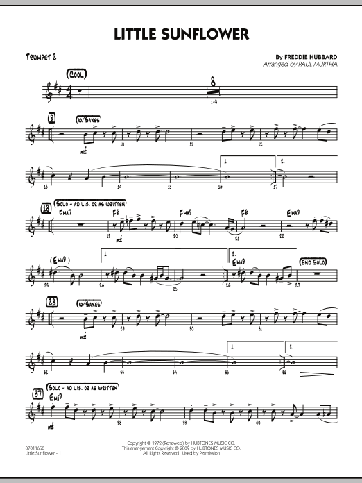 Paul Murtha Little Sunflower - Trumpet 2 sheet music notes and chords. Download Printable PDF.