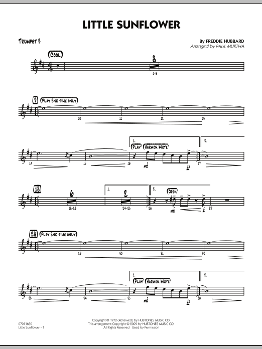 Paul Murtha Little Sunflower - Trumpet 3 sheet music notes and chords. Download Printable PDF.