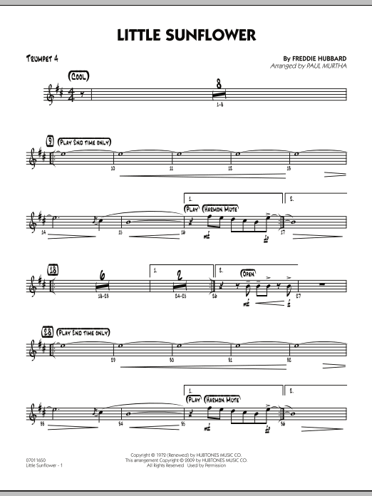 Paul Murtha Little Sunflower - Trumpet 4 sheet music notes and chords. Download Printable PDF.