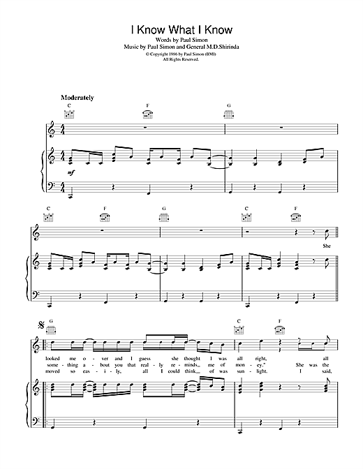 Paul Simon I Know What I Know sheet music notes printable PDF score