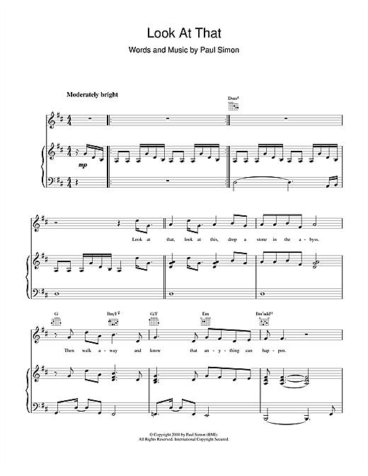 Paul Simon Look At That sheet music notes printable PDF score