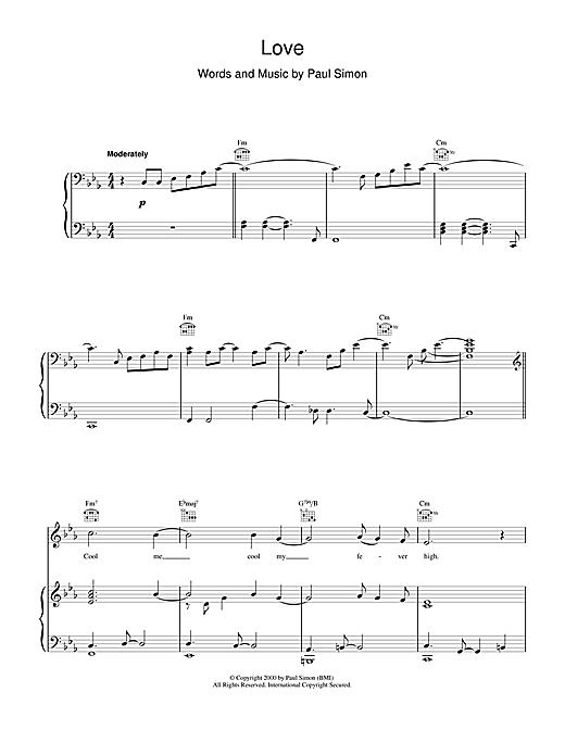Paul Simon Love sheet music notes printable PDF score
