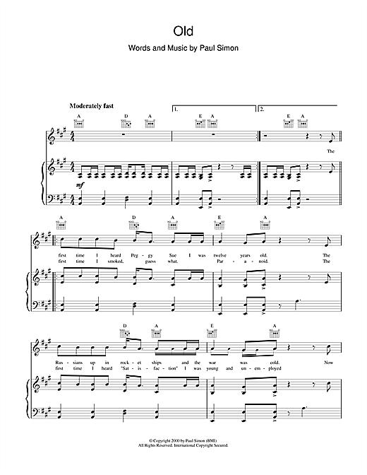 Paul Simon Old sheet music notes printable PDF score