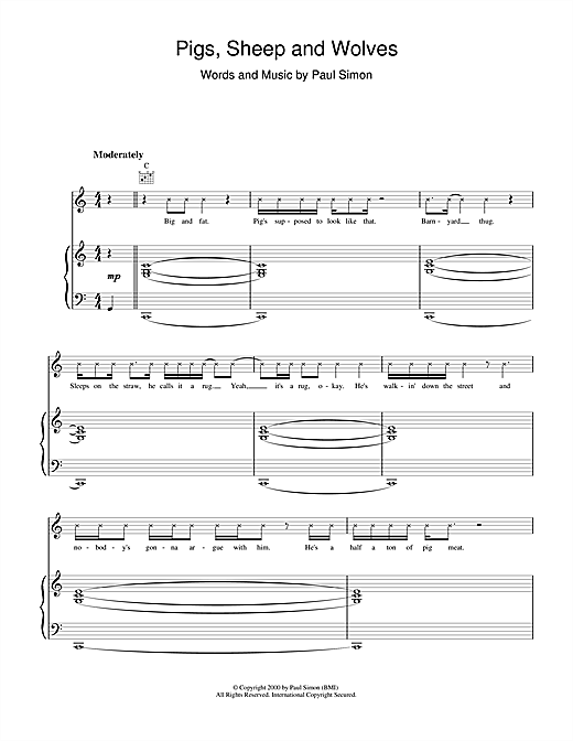Paul Simon Pigs, Sheep And Wolves sheet music notes printable PDF score