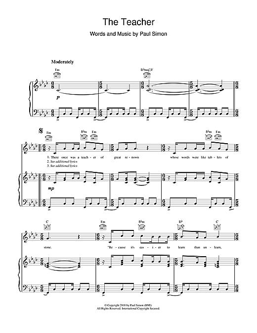 Paul Simon The Teacher sheet music notes printable PDF score