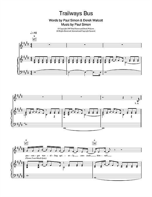 Paul Simon Trailways Bus sheet music notes printable PDF score