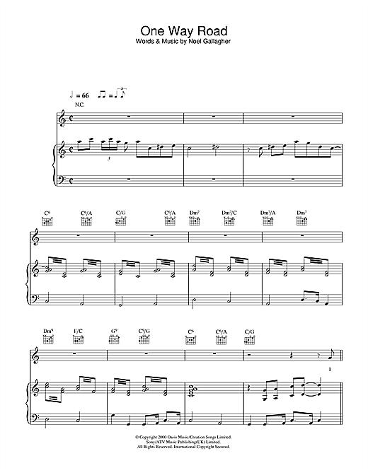 Paul Weller One Way Road sheet music notes printable PDF score