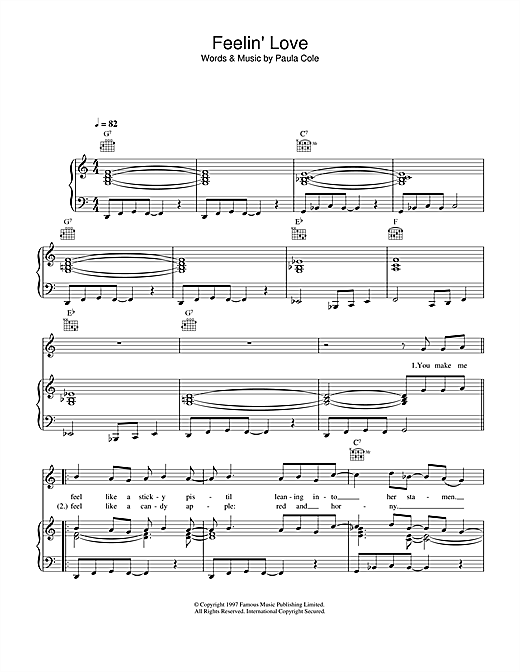 Paula Cole Feelin' Love sheet music notes printable PDF score