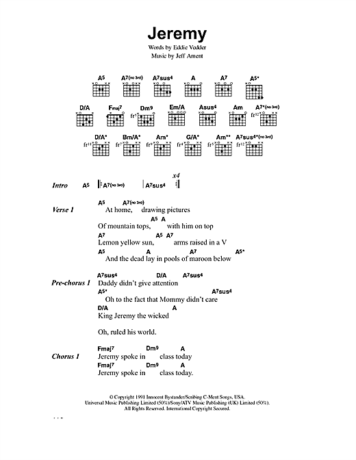Pearl Jam Jeremy sheet music notes and chords. Download Printable PDF.