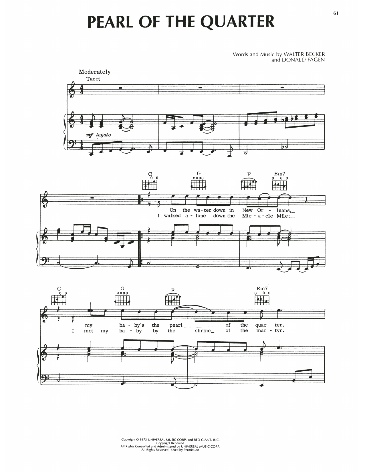 Steely Dan Pearl Of The Quarter sheet music notes printable PDF score