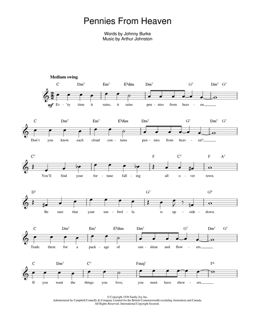 Johnny Burke and Arthur Johnston Pennies From Heaven sheet music notes printable PDF score