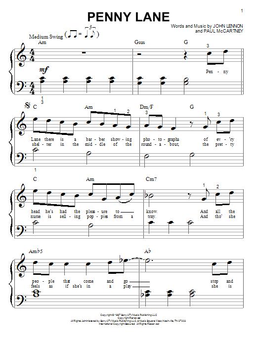 The Beatles Penny Lane sheet music notes printable PDF score