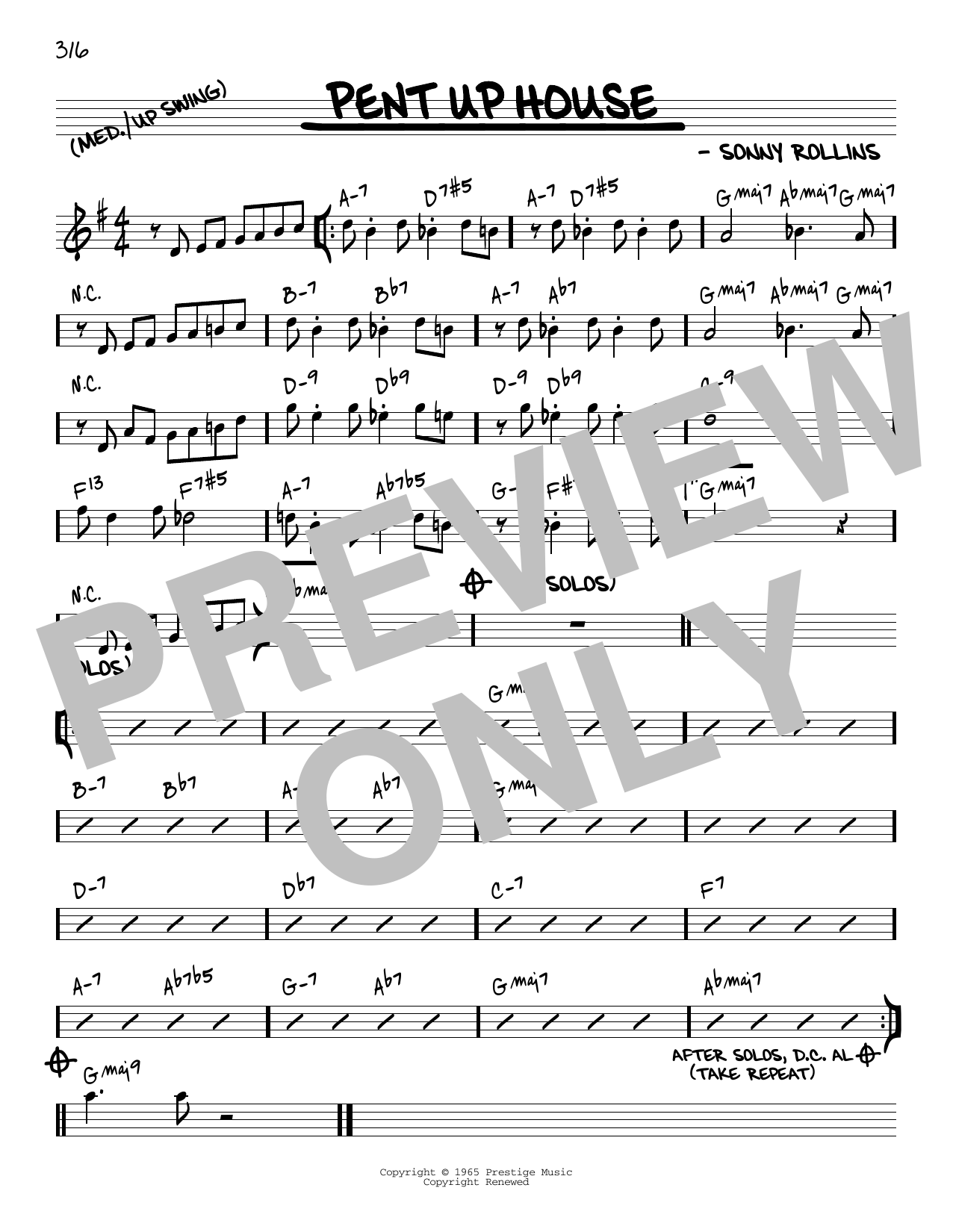 Sonny Rollins Pent Up House [Reharmonized version] (arr. Jack Grassel) sheet music notes printable PDF score